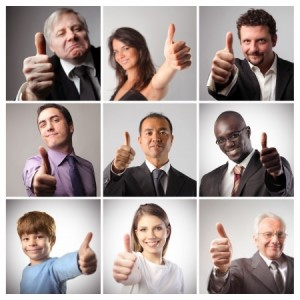 Matric of people showing thumbs up