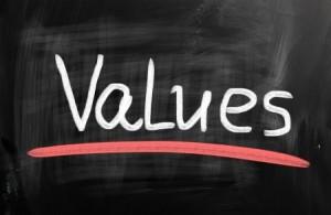 Values-on-black-chalkboard